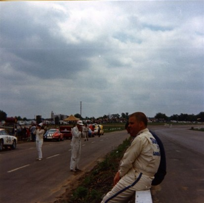 Mark Donohe relaxes on the pit wall